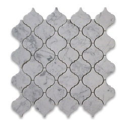 "Stone Center Corp - Carrara White Marble Medium Lantern Baroque Mosaic Tile Honed Carrera - Carrara White Marble medium lantern shaped pieces mounted on 12x12"" sturdy mesh tile sheet"