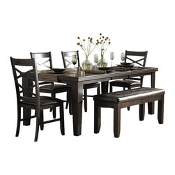 Homelegance - Homelegance Hawn 6 Piece Dining Table Set in Espresso - Homelegance - Dining Sets - 2438826 - Drawing from the basic form of the Arts and Crafts movement and subtly adding modern lines casual dining will never look the same in your home with the addition of the Hawn Collection. A rich walnut finish highlights the walnut veneer on this substantially sized table. Double X-back chairs feature a dark brown bi-cast vinyl seat that compliments the table and accompanying buffet server. Additional seating in the form of a tufted bench is also available.