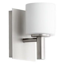 Joshua Marshal - One Light Satin Nickel Satin Opal Glass Wall Light - One Light Satin Nickel Satin Opal Glass Wall Light