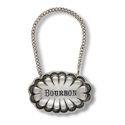 Western Decanter Tag - Bourbon - Scallops and sunburst motifs come together in the detailed edging of the cast pewter Western Decanter Tag, a casually eclectic means of distinguishing between the contents of your personal set of barware bottles. Suspended from a loop of weighted chain, the bourbon label is also attractive for purely decorative use in a small bookshelf tableau.