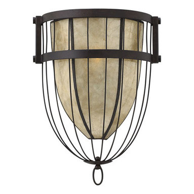 Fredrick Ramond - Fredrick Ramond FR42872VBZ Ava 1 Light Wall Sconces in Vintage Bronze - Ava's transitional wire bird cage design captures an over scaled stained Mica shade with a concealed light source. The Vintage Bronze finish adds to its dramatic appeal.