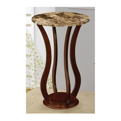 Coaster - Accent Marble Top Plant Stand - Traditional style. Faux marble top. Curved base. Cherry finish. 18 in. Dia. x 28.5 in. H. WarrantyThe plant stand is the perfect ornamental or plant display for any vacant space in your home. This accessory provides a secure top to safely display your favorite plant.