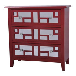 Roxy Bright Red 3 Drawer Mirrored Chest - Roxy bright red 3 drawer mirrored chest
