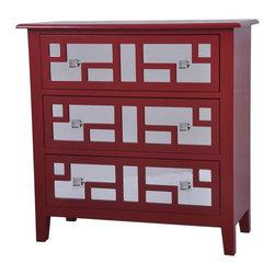 Roxy Bright Red 3 Drawer Mirrored Chest - Roxy bright red 3 drawer mirrored chest