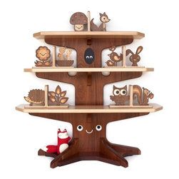 Happy Tree Bookshelf With Four Wood Animal Bookends By Graphic Spaces - This tree bookshelf would be a super fun addition to a room. If the shelf is out of your price range, you could settle for one of the cute bookends instead.