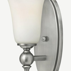 Hinkley - Hinkley-5740AN-Yorktown - One Light Bath Bar - The elegant Yorktown collection offers updated traditional styling with cast detailing for an authentic touch. The cast back plate finials bar ends and ball transitions combine to make this classic design perfect for any décor. Mounting Direction: Up and Down Shade Included: Yes  Antique Nickel Finish with Etched Opal Glass  Lamp Quantity: 1  Lamp Type: Medium Base  Wattage: 100  Voltage: 120  Damp Location Certified  Material: Metal