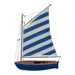 "Handcrafted Nautical Decor - Blue Striped Sailboat 15"" - Wood Model Sailing Boat - Not a model ship kit"