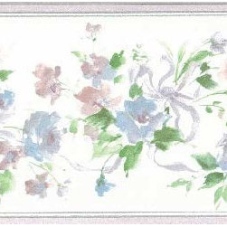 York Wallcoverings - Blue Roses White Background Wallpaper Border - Wallpaper borders bring color, character and detail to a room with exciting new look for your walls - easier and quicker then ever.