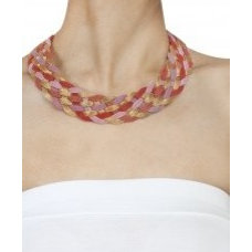 Criss cross inter-woven mesh collar bib necklace available only at Pernia's Pop-