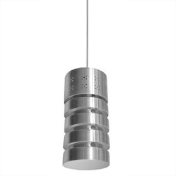 "IFN Modern - Cardin Cylindrical Pendant - â— Aluminumâ— Stainless Steelâ— Incandescent 60 Watt Bulb (Not Included)â— 2lbsâ— 110 Voltsâ— 47"" Cordâ— Shade Diameter - 8"""