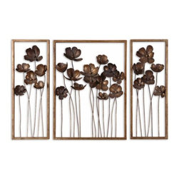 Uttermost - Uttermost 12785 Metal Tulips Set of 3 Wall Art - Uttermost 12785 Grace Feyock Metal Tulips Set of 3 Wall ArtThis set of decorative wall art is made of hand forged metal finished in antiqued gold leaf with a charcoal gray wash. Sizes: Sm-10x27x4, Lg-20x27x4Features: