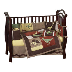Sweet Jojo Designs - Dinosaur Land 9-Piece Crib Bedding Set - The Dinosaur Land 9 Piece Crib Bedding Set by Sweet Jojo Designs will transform your child's room into a Jurassic Kingdom! This bedding set features embroidered appliqués of Dinosaur Land like the Pterodactyl, T-rex and Brontosaurus. This set uses the stylish colors of Rust, Avocado, Butternut Yellow, Chocolate and Ivory.