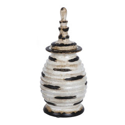 Privilege - Privilege Accent White and Black Medium Ceramic Jar - Top off your home decor with this accent white and black vase. Made of grooved ceramic, this vase complements many decor styles, from transitional to modern to minimalist.