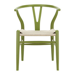 Woven Shaker Chair in Green - Marrying spartan-lined wood with modern design, this Woven Shaker Chair makes a great match with a rustic harvest table or modern dining table. The tightly woven seat and simple, sturdy foundation make the chair a must-have for any modern home.