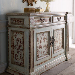 """""""Gianna"""" Console - The Gianna"""" Console goes through a detailed, multiple-layer painting process, all done by hand to achieve the look of a centuries old antique.  No detail is missed, down to the scrolling vine motif beautifully applied to the surface.    * Two drawers, two doors, and one shelf.    * 51""""W x 21""""D x 37""""T."""