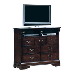 Monarch Specialties - Monarch Specialties Traditional 47x18 TV Drawer Chest in Walnut - This beautiful TV drawer chest will be a lovely addition to your traditional master bedroom. This piece has seven spacious drawers to meet all of your storage needs. Antique style bail handles add the perfect finishing touch to this dark walnut unit. Not only is this chest appealing, but it is also functional with its wire management integration, a shelf to put your satellite box and DVD player, and a spacious top to place your TV. What's included: Media Unit (1).