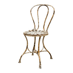 Antique French Garden Chair - Classic single antique open-work iron garden/ Cafe chair in the original paint.