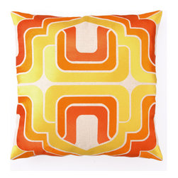 Ogee Embroidered Pillow in Orange by Trina Turk - This pillow packs a twofer: color and eye-catching pattern.