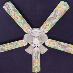 Ceiling Fan Designers Winnie Pooh Piglet Eeyore Tigger Indoor Ceiling Fan - The Ceiling Fan Designers Winnie Pooh Piglet Eeyore Tigger Indoor Ceiling Fan is a perfect addition to your nursery. All kids love Winnie the Pooh and his friends and this super cute ceiling fan is filled with colorful Winnie the Pooh characters. It's a fan and light kit combo that comes in your choice of size: 42-inch with 4 blades or 52-inch with 5. The blades are reversible so you get the sweet and colorful Pooh and friends design on one side and classic white on the other. It has a powerful yet quiet 120-volt, 3-speed motor with easy switch for year-round comfort. The 42-inch fan includes a schoolhouse-style white glass shade and requires one 60-watt candelabra bulb (not included). The 52-inch fan has three alabaster glass shades and requires three 60-watt candelabra bulbs (included). Your ceiling fan includes a 15- to 30-year manufacturer's warranty (based on size). This is not an officially licensed product. Licensed products were used as decorations.