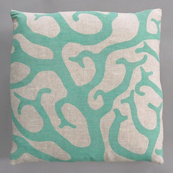 "Dermond Peterson - Coral Turquoise Pillow on Natural Linen - Bright, playful, and fun! Dermond Peterson pillows are a chic and sophisticated way to add a piece of art to your living room or bedroom. Features: -Color: Turquoise and Natural Linen. -Each pillow is made to order. -Hand block printed on natural linen using water based ink. -Feather and down insert. -Pillowcase is machine washable. -Machine wash cold on gentle cycle. -Made in Milwaukee, WI. -Overall dimensions: 20"" H x 20"" W x 4"" D."
