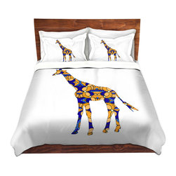DiaNoche Designs - Duvet Cover Twill by Susie Kunzelman - Giraffe II - Lightweight and super soft brushed twill Duvet Cover sizes Twin, Queen, King.  This duvet is designed to wash upon arrival for maximum softness.   Each duvet starts by looming the fabric and cutting to the size ordered.  The Image is printed and your Duvet Cover is meticulously sewn together with ties in each corner and a concealed zip closure.  All in the USA!!  Poly top with a Cotton Poly underside.  Dye Sublimation printing permanently adheres the ink to the material for long life and durability. Printed top, cream colored bottom, Machine Washable, Product may vary slightly from image.