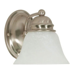 Nuvo Lighting - Empire Brushed Nickel One-Light Bath Fixture with Alabaster Glass - Empire Brushed Nickel One-Light Bath Fixture with Alabaster Glass Nuvo Lighting - 60/340