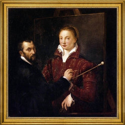 """Sofonisba Anguissola-16""""x16"""" Framed Canvas - 16"""" x 16"""" Sofonisba Anguissola Bernardino Campi Painting Sofonisba Anguissola framed premium canvas print reproduced to meet museum quality standards. Our museum quality canvas prints are produced using high-precision print technology for a more accurate reproduction printed on high quality canvas with fade-resistant, archival inks. Our progressive business model allows us to offer works of art to you at the best wholesale pricing, significantly less than art gallery prices, affordable to all. This artwork is hand stretched onto wooden stretcher bars, then mounted into our 3"""" wide gold finish frame with black panel by one of our expert framers. Our framed canvas print comes with hardware, ready to hang on your wall.  We present a comprehensive collection of exceptional canvas art reproductions by Sofonisba Anguissola."""