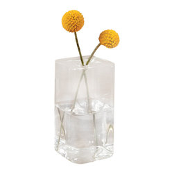 """Glass Box Vase - Square, 4.5"""" - Pluck an autumnal bough from a golden tree, a willow that whispers of soft spring green, a bloom just cut from the garden, and provide a most deserving presentation of its beauty in the Glass Box Vase - Square. The unadorned modular geometric design allows for beauteous display among contemporary or traditional furnishings, whether placed upon a display shelf, accent table, or heirloom sideboard."""