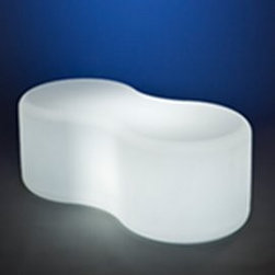 Rotoluxe - Rotoluxe   Rotoluxe™ Infinity Bench 2 - Indoor Use - Made in the U.S.A. from recycled materials.The perfect perch for relaxing, the Infinity Bench 2 by Rotoluxe™ has a sleek and unique shape. Suitable for both public and private spaces, alone or in multiples, the Infinity Bench 2 is available with a light option for an ambient glow.An indoor bench that is specified with a light will include a cord with a hand switch. Please select color and light options. (Note: Grey and Black are not available with a light.) Impact and UV resistant. 10 year warranty. Also available for outdoor use.