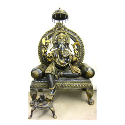 Large Stone Lord Ganesha Garden Statues - 4ft Large Bronze Gilded Ganesha Ganapati Statue - Let the Remover of Obstacles Bring Abundance to Your Dream Designed Landscape or Decor #549-I