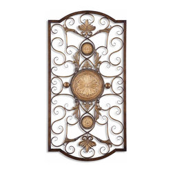 Large Medallion Scroll Wall Grille Decor - *This decorative wall art is made of hand forged and hand embossed metal.