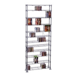 """Atlantic - Max Steel 11 Tier Multimedia Storage Rack - This rack is perfect for conveniently storing your CD and DVD collection. The metal rack has 11 shelves for storage. Features: -Shelves are adjustable.-Holds up to 864 CDs or 450 DVDs or 490 Blu-ray.-Commercial Use: No.-Material: Steel / Plastic.-Solid Wood Construction: No.-Number of Items Included: 1.-Weather Resistant or Weatherproof: No.-Scratch Resistant: No.-Heat Resistant: No.-Stain Resistant: No.-Drawers Included: No.-Exterior Shelves Included: Yes -Number of Exterior Shelves: 12.-Adjustable Exterior Shelves: Yes.-Number of Exterior Shelves: 12.-Adjustable Exterior Shelves: Yes..-Cabinets Included: No.-Distressed: No.-Recycled Content: No.-Product Care: Wipe clean with a dry cloth.-Storage Capacity: 864 CDs / 450 DVDs / 490 Blu-Rays.-Wall Mountable: No.Specifications: -ISTA 3A Certified: Yes.Dimensions: -76.75"""" H x 33.38"""" W x 8.13"""" D.-Overall Product Weight: 39.7 lbs.-Shelving: Yes.Assembly: -Assembly Required: Yes.-Tools Needed: Hammer.-Additional Parts Required: No.Warranty: -Product Warranty: 1 Year limited."""