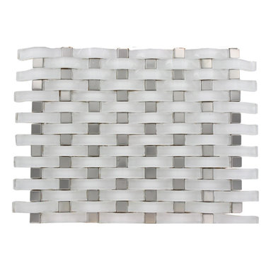 """GlassTileStore - Loft Curve Super White Glass Tile W/ Metal Dot - Loft Curve Super White 2 1/2 x 3/4 W/ 3/4 x 3/4 Dot Brick Pattern Glass Tile          Whether using this stunning tile as a back splash, wall or as an accent piece, the polished white and stainless steel dot will bring a modern and contemporary ambiance to the room. Add a pop to any room with these beautiful tiles that are versatile; great to use for a back splash.         Chip Size: 2 1/2"""" x 3/4"""" Dot: 3/4"""" x 3/4""""   Color: Super White and Stainless Steel   Material: Glass and Steel   Finish: Polished and Brushed   Sold by the Sheet - each sheet measures 13"""" x 11 """" (0.99 sq. ft.)   Thickness: 8mm   Please note each lot will vary from the next.            - Glass Tile -"""