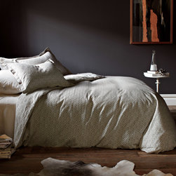 """DwellStudio - DwellStudio Home Paloma Duvet Cover - DwellStudio Home fuses mid-century influence and modern style to streamline simple home decor with designer flair. Sophisticated and elegant, the Paloma duvet cover enriches contemporary bedrooms. Inspired by an Indian stone floor, this smoke gray bedding features a textured, geometric pattern for graphic appeal. Made from 400 thread-count cotton jacquard. Available in several sizes. Insert not included. Machine washable. Full/Queen: 88""""w x 90""""H. King: 106""""W x 92""""H."""