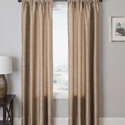 Blindsgalore Signature Drapery Panel: Borgata Silk Stripe - Faux silk never looked this good! Borgata drapery panels from Blindsgalore are a 100% polyester faux silk stripe that comes in a wide array of colors from subtle neutrals to rich hues. This classic patterns fits in almost any décor to provide a sophisticated look that won't break the budget. Try pairing these with a sheer panel underneath and a wood blind or woven wood shade for a rich, layered look!
