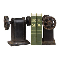 Sterling Industries - Industrial Book Press Book Ends Decorative Accessory in Restoration Rusted Black - Industrial Book Press Book Ends Decorative Accessory in Restoration Rusted Black by Sterling Industries
