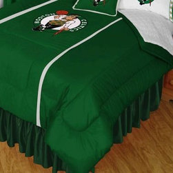 Sports Coverage - NBA Boston Celtics Sidelines Comforter and Sheet Set Combo - Queen - This is a great NBA Boston Celtics Bedding Comforter and Sheet set combination! Buy this Microfiber Sheet set with the Comforter and save off our already discounted prices. Show your team spirit with this great looking officially licensed Comforter which comes in new design with sidelines. This comforter is made from 100% Polyester Jersey Mesh - just like what the players wear. The fill is 100% Polyester batting for warmth and comfort. Authentic team colors and logo screen printed in the center.   Microfiber Sheet Hem sheet sets have an ultrafine peach weave that is softer and more comfortable than cotton.  Its brushed silk-like embrace provides good insulation and warmth, yet is breathable.  The 100% polyester microfiber is wrinkle-resistant, washes beautifully, and dries quickly with never any shrinkage. The pillowcase has a white on white print beneath the officially licensed team name and logo printed in vibrant team colors, complimenting the NEW printed hems. The Teams are scoring high points with team-color logos printed on both sides of the entire width of the extra deep 4 1/2 hem of the flat sheet.  Includes:  -  Flat Sheet - Twin 66 x 96, Full 81 x 96, Queen 90 x 102.,    - Fitted Sheet - Twin 39 x 75, Full 54 x 75, Queen 60 X 80,    -  Pillow case Standard - 21 x 30,    - Comforter - Twin 66 x 86, Full/Queen 86 x 86,