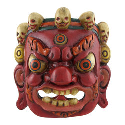 Zeckos - Nepalese Lord Mahakala Tibetan Buddhism Hand Crafted Wooden Mask Wall Decor - Lord Mahakala the Protector, an important deity in Buddhism, takes many different names and forms. The powerful god manifests here in the form of an enraged red visage with a wise third eye and a traditional crown of five skulls which represent the five wisdoms. Made of real wood, the authentic mask was hand carved and painted in Nepal. It measures 6 1/2 inches tall, 6 1/2 inches wide, and 3 inches deep. A metal loop on the reverse side allows the mask to hang from a single nail or wall hook. Hang this wonderful piece in any room for a vibrant cultural accent or take it down to wear and become the manifestation of Mahakala himself.