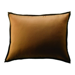 "THE BOUDOIR PILLOW, FROM THE CAFÉ CINNAMON - Fashioned from the Cocoa fabric on each side with a 1/2"" self flange and finished with a clean edge. (12""x16"")"