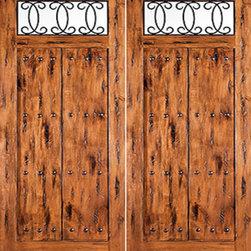 """Solid Knotty Alder, Double Entry Door with Forged Iron - SKU#156 Lima_2BrandAAWDoor TypeExteriorManufacturer CollectionOld World Entry DoorsDoor ModelDoor MaterialWoodWoodgrainKnotty AlderVeneerPrice3568Door Size Options2(36"""") x Height"""" (6'-0"""" x 6'-8"""")  $02(36"""") x Height"""" (6'-0"""" x 8'-0"""")  +$480Core TypeSolidDoor StyleRusticDoor Lite Style1 LiteDoor Panel StyleHome Style MatchingRustic , Old WorldDoor ConstructionSolid Stiles and RailsPrehanging OptionsPrehungPrehung ConfigurationDouble DoorDoor Thickness (Inches)1.75Glass Thickness (Inches)1/4Glass TypeSingle GlazedGlass CamingGlass FeaturesTemperedGlass StyleGlass TextureClear , Glue ChipGlass ObscurityDoor FeaturesDoor ApprovalsDoor FinishesDoor AccessoriesWeight (lbs)850Crating Size25"""" (w)x 108"""" (l)x 52"""" (h)Lead TimeSlab Doors: 7 daysPrehung:14 daysPrefinished, PreHung:21 daysWarranty1 Year Limited Manufacturer WarrantyHere you can download warranty PDF document."""