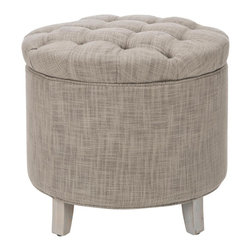 Safavieh - Amelia Tufted Storage Ottoman - Stone - The essential storage ottoman, Amelia is transitional in design with button tufted quilted top and oak legs distressed grey finish. Practical and fashion right, the linen-texture stone fabric is a blend of viscose and polyester.