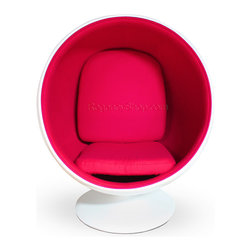 Ball Chair - Pink - When sitting becomes more than a verb, when it is elevated to an actual experience, you know you have just been gifted an education from the genius that is Eero Aarnio. Certainly the Ball Chair is not for the faint of futuristic heart. Perhaps it would look more appropriate on a sci-fi flick sound stage than in your grandmother's living room; and that is exactly the point. The Ball Chair, crafted out of fiberglass, creates a personal bio-sphere - emphasis on sphere - right in the midst of your own household. Once you snuggle down into the Aarnio chair, it supports any manner of sitting positions. Imagine curling into such lush comfort on a rainy day with that book you've been meaning to finish for months. You might finish the entire series before your friends or family can entice you out again. And the best part? It comes in red, white, blue, and for the serious clean-cut rebel: HOT PINK!
