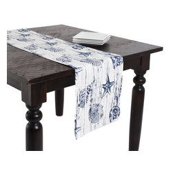None - Nautical Design 12x72-inch Table Runner - Establish a transitional dining setting with this charming table runner, highlighting a printed nautical-inspired design. This table linen measures 72 inches long, and features a cotton construction.