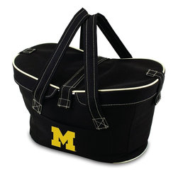 Picnic Time - University of Michigan Mercado Picnic Basket in Black - This Mercado Basket combines the fun and romance of a basket with the practicality of a lightweight canvas tote. It's made of polyester with water-resistant PEVA liner and has a fully removable lid for more versatility. Take it to the farmers market, the beach, or use it in the car for long trips. Carry food or sundries to and from home, or pack a lunch for you and your friends or family to share when you reach your destination. The Mercado is the perfect all-around soft-sided, insulated basket cooler to use when you want to transport a lunch or food items and look fashionable doing it.; College Name: University of Michigan; Mascot: Wolverines; Decoration: Digital Print; Includes: 1 removable canvas lid