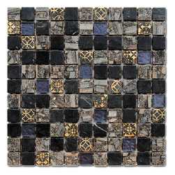 Royal Gold Stone And Glass Tile Square Mosaic, Box - Sold by the box 11 sheets = 11 sq/ft