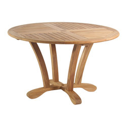 """Douglas Nance - Douglas Nance Cayman 50"""" Dining Table - The Douglas Nance philosophy about teak furniture is different than most. While all around we see designs and styles that minimize the use of teak wood by substituting with aluminum or adding sling fabric material, we have gone the other direction. Slim and sleek won't be found in descriptions of our furniture. Instead you'll read masterful, bold and rock solid. Everything in the design of our styles has been about making a statement with teak. We've added thickness to our parts to give unheard of stability and strength. We've also added extra dimension to provide more room and comfort than any teak designs we have ever seen. Dining table sold only."""