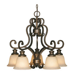 Golden Lighting - Heartwood 5-Light Nook Chandelier - Make a big statement in a small space. This nook chandelier is both elegant and bold. The timeless design adds an element of sophistication to an intimate dining or living area.