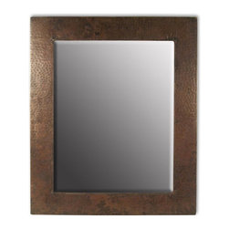 Native Trail - Sedona Rectangular Hammered Copper Mirror (Small 22 in. x 36 in.) - Choose Size: Small 22 in. x 36 in.. Beveled Glass. Hand Hammered Copper. Horizontal or Vertical Mounting. Post-consumer recycled copper. 22 in. L x 26 in. W x 1 in. H ( 15 lbs.). Small Specifications. Large SpecificationsThe beveled mirror adds an elegant touch to either finish that matches your interior design.