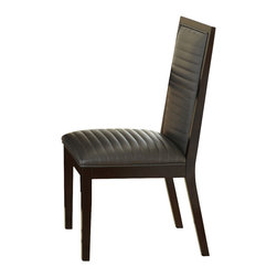 Steve Silver Furniture - Steve Silver Antonio Side Chair w/ Charcoal Upholstery in Deep Cherry [Set of 2] - Side Chair w/ Charcoal Upholstery in Deep Cherry belongs to Antonio Collection by Steve Silver With a clean, minimalistic style, the Antonio side chairs are designed for modern sensibilities. The set is made of hardwood solids with quarter cut ash veneer construction. The lush side chairs feature channel stitched charcoal faux leather seats and inside backs, with V cut vertical chair back slats.  Side Chair (2)