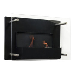 "Paramount - Gel Fuel Wall Mount Fireplace - Enliven any space with this wall mount gel fuel fireplace. This stunning wall mount vent less gel fireplace by Paramount adds a touch of class to any room of your home. Made from powder-coated steel and tempered glass back panel. This piece is small enough to go anywhere and can be hung as easily as a picture. This fireplace is the perfect addition to any home. Paramount Indoor Eco Gel Fuel sold separately. Dimensions: 23.6"" W x 8.3"" D x 15.75"" H"